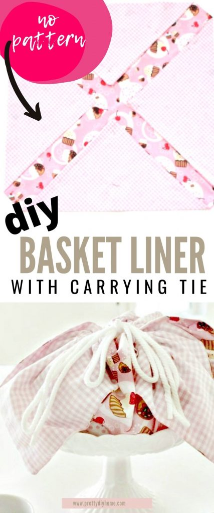 A large pink fabric handmade basket liner filled with baked goods and tied shut with a white pull cord. The DIY basket liner is sitting on a white pedestal plate for serving.