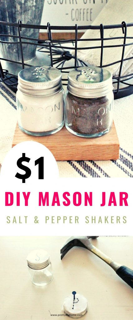 Small mason jar lids being punched with holes to form the letters P and S for salt and pepper.