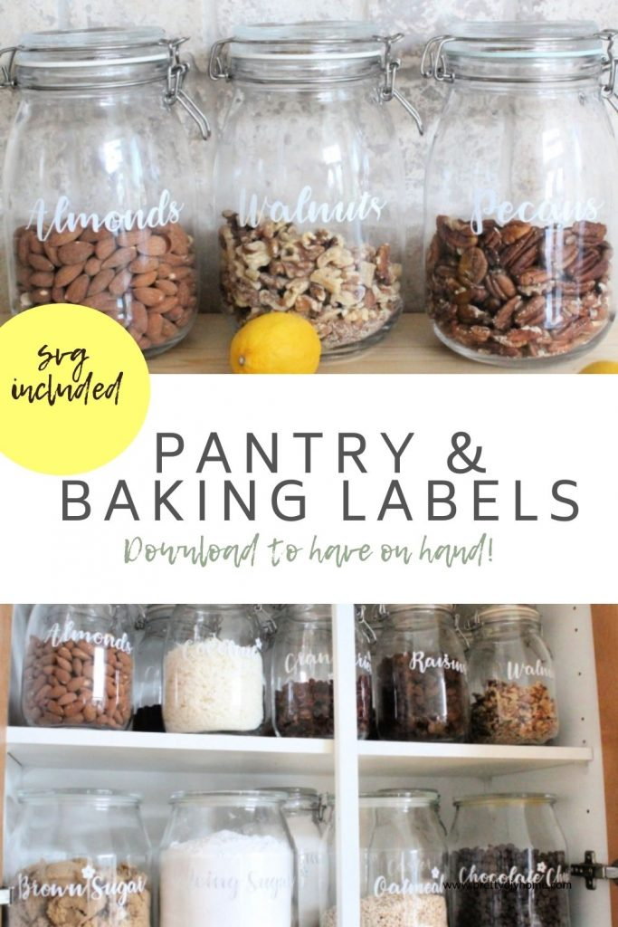 Two images showing lines of pretty vinyl labels on clear storage jars. A large kitchen cupboard full of neatly arranged storage jars with pretty farmhouse baking labels in cursive font with little flowers.