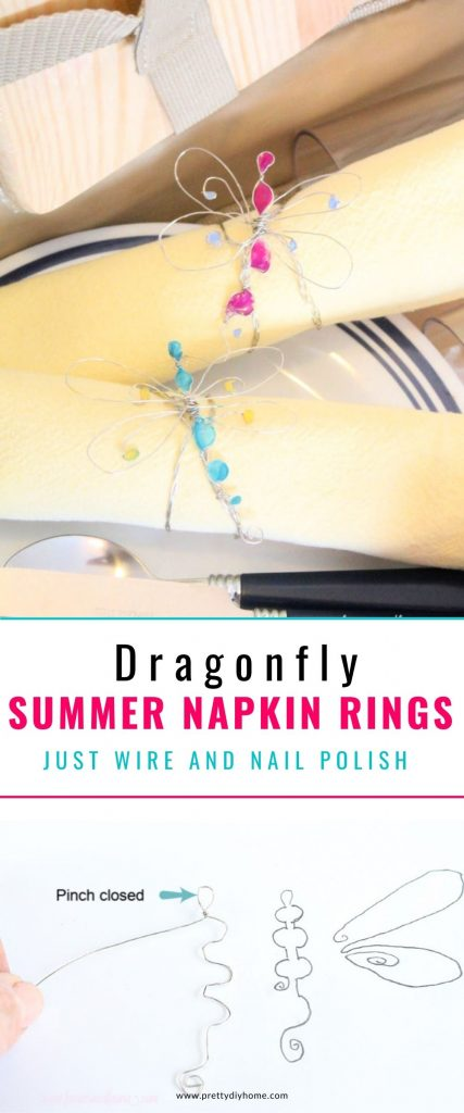 An image showing the pattern and how to bend jewelry wire in the shape of a dragonfly on the bottom. The top image has the finished summer napkin ring shaped like a butterfly wrapped around a yellow napkin on a pretty picnic plate.