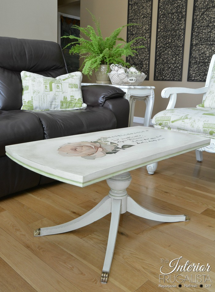 A duncan fife coffee table furniture makeover with white pant and a beautiful rose transfer.
