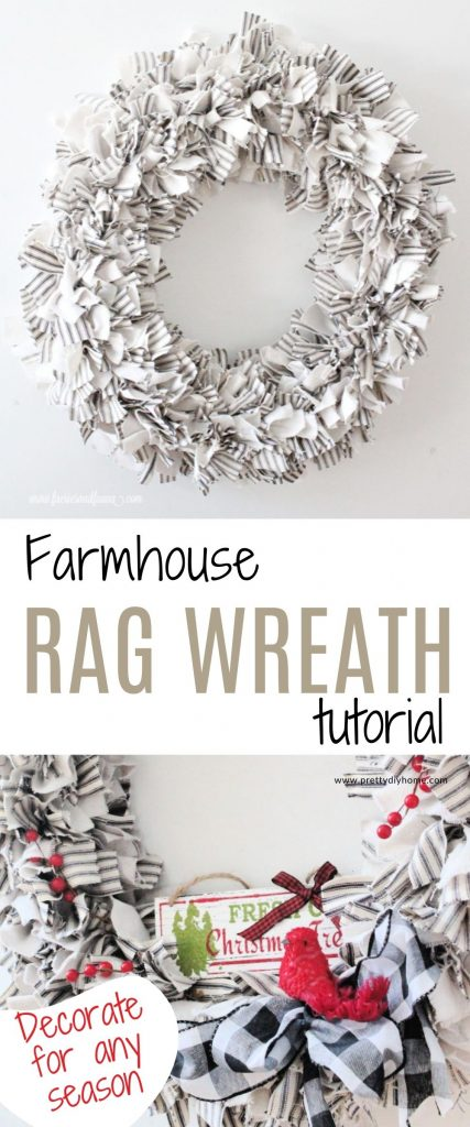A large round fabric rag wreath tutorial. Two images one is plain with just ticking and dropcloth. The lower image shows the same wreath decorated for Christmas with a small farmhouse sign, large ribbon and a pretty red bird and lots of red berries.