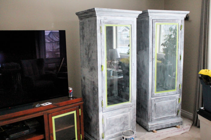 Primed Entertainment center being repainted.