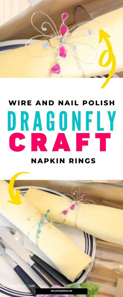 Two images of handmade dragonfly napkin rings. The dragonflies are made with wire and pretty pink and blue nail polish. It is sitting on a picnic table setting with yellow napkins and placemats ready for a picnic.
