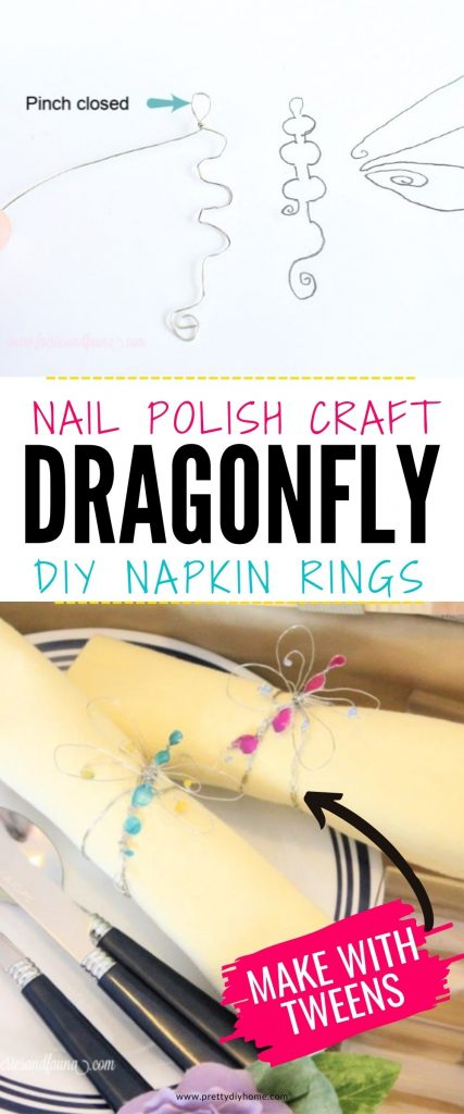 Pretty nail polish craft idea using wire and nail polish. A pretty dragonfly wire diy napkin ring in silver with pink and blue nail polish painted wings and body. The dragonfly is part of a napkin ring that is wrapped around a yellow napkin with pretty florals and lavender flower.
