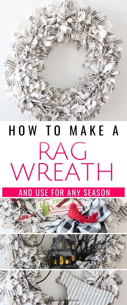 A neutral large diy rag wreath craft in a farmhouse style. The wreath is made using ticking and drop cloth and its decorated with a galvanized cow and twine.