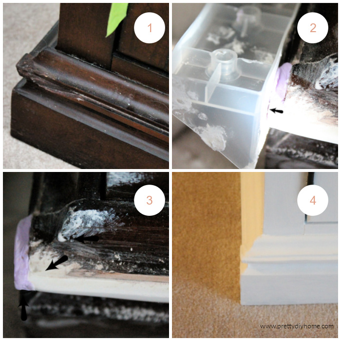 A collage of four steps of fixin a broken corner on furniture. The before picture, how to fill with drydex, how to sand, and the final result.