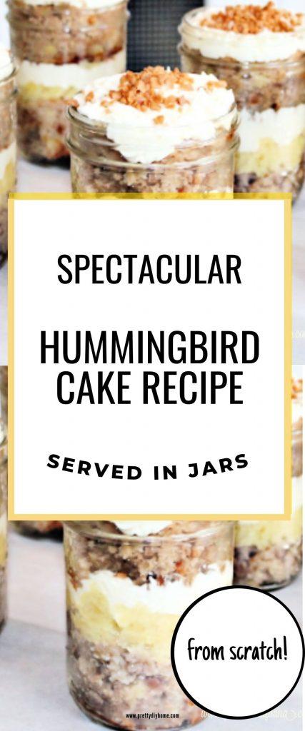 Hummingbird cake layered in mason jars between layers of cream cheese icing and pineapple.