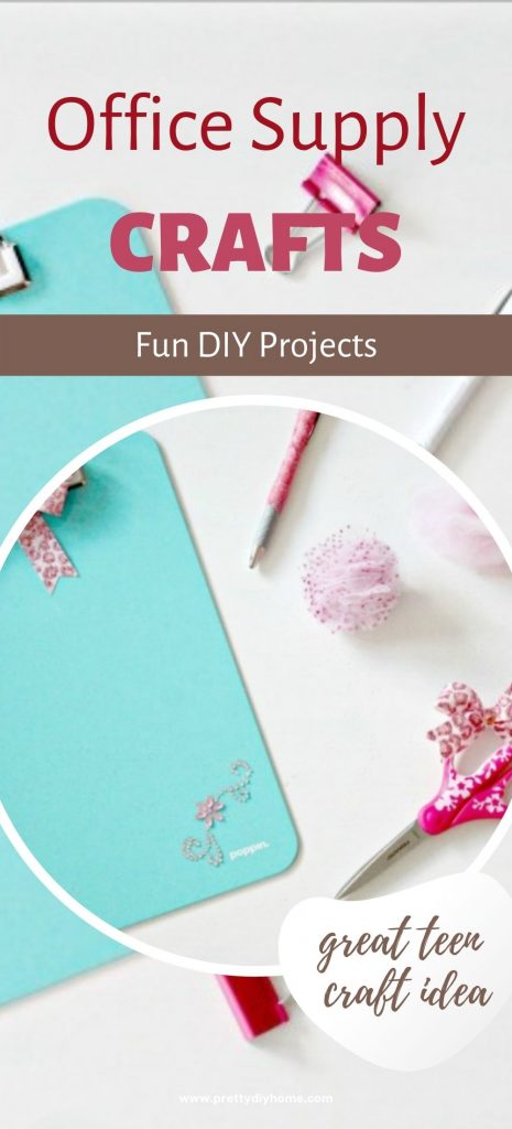 Turquoise, pink and sparl;ing craft supply crafts including alligator clips with pom poms, turquoise blue clipboard with sparkles, and pink pens wrapped in gold sparkly washa tape.