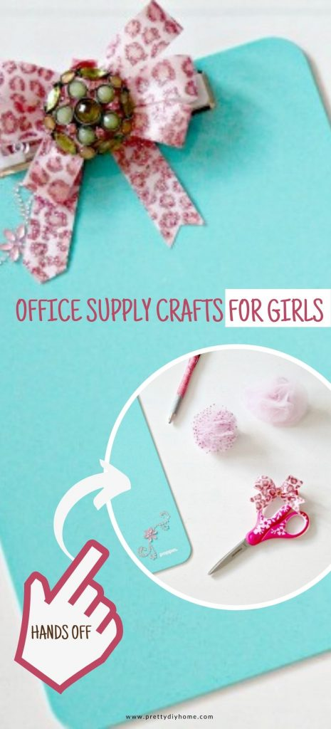 Turquoise and pink office supplies that have been decorated with sparkling tool, beads, and washa tape to make them very girlish.