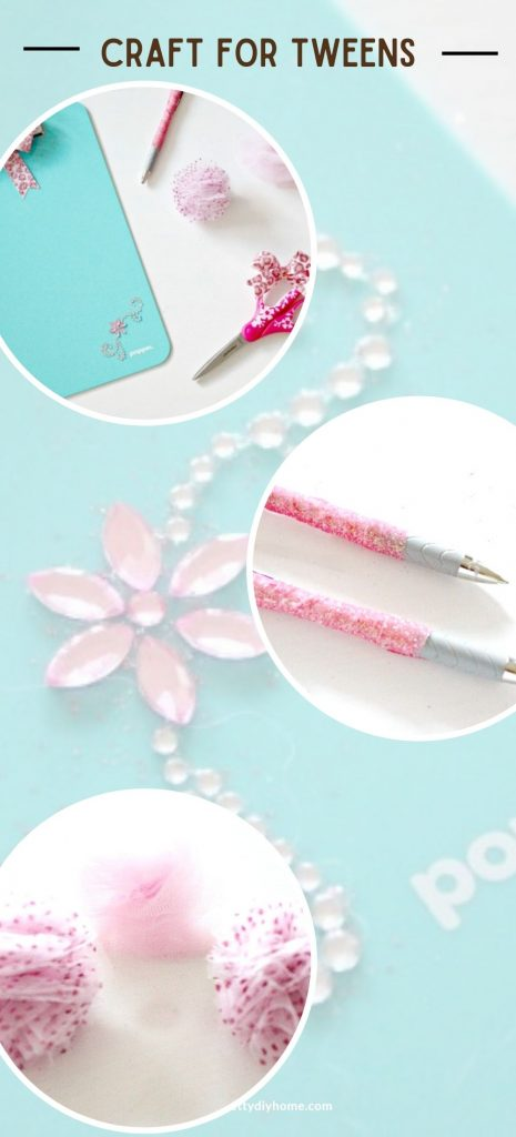 Plain office supplies that have been crafted with extra bling, shiny pom poms, sparkly beads, and washi tape.