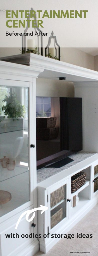 A white painted entertainment center that had lifting veneer. It has a white painted finish and wicker baskets for storage.