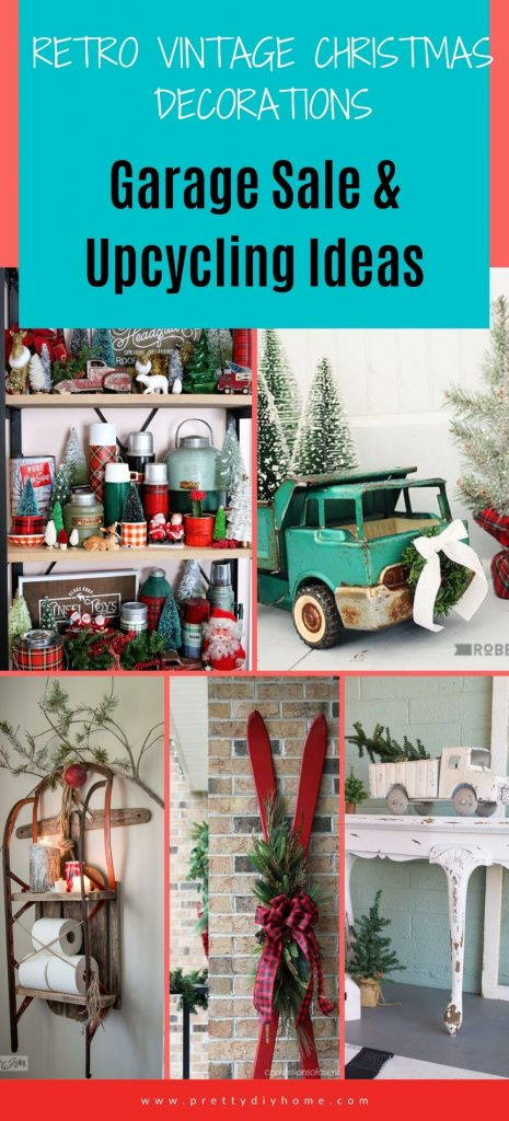 A collection of vintage items repurposed as vintage Christmas decorations including a metal truck, a ski, a sled, and a collection of vintage thermos.