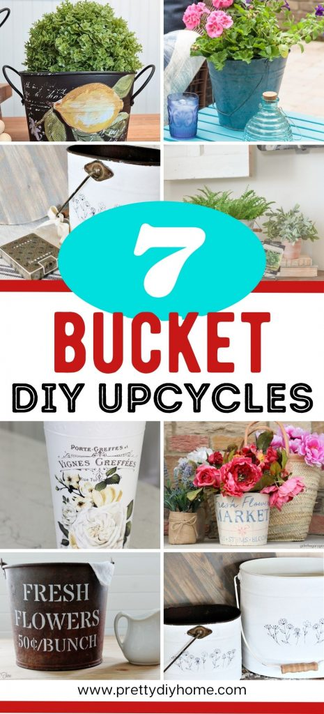 A collection of DIY farmhouse DIY buckets in a wide variety of shapes and colours.