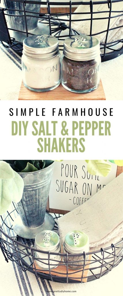 Easy DIY salt and pepper shakers using dollar tree mason jars, in a basket with a farmhouse sign, galvanized vase, greenery and farmhouse napkins.