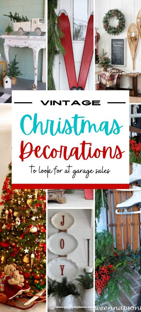 A collection of vintage items repurposed into Christmas decorations. Old sleighs, enamel plates, sleds, horseshoes and metal trucks decorating under the Christmas tree, on a Christmas front porch and in differrent Christmas vignettes.
