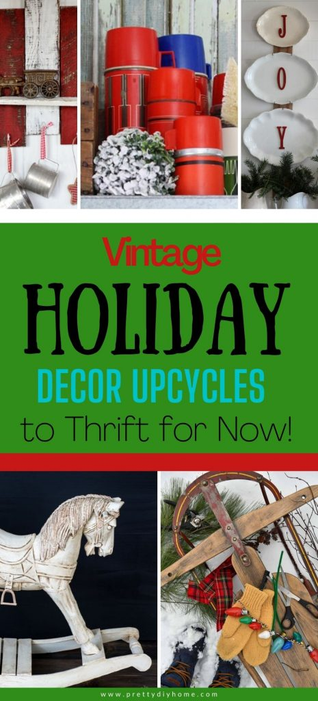 Various displays of vintage holiday decor upcycles , old mittens, rocking horses, old Christmas bulbs, sleighs, and even flour sifters.