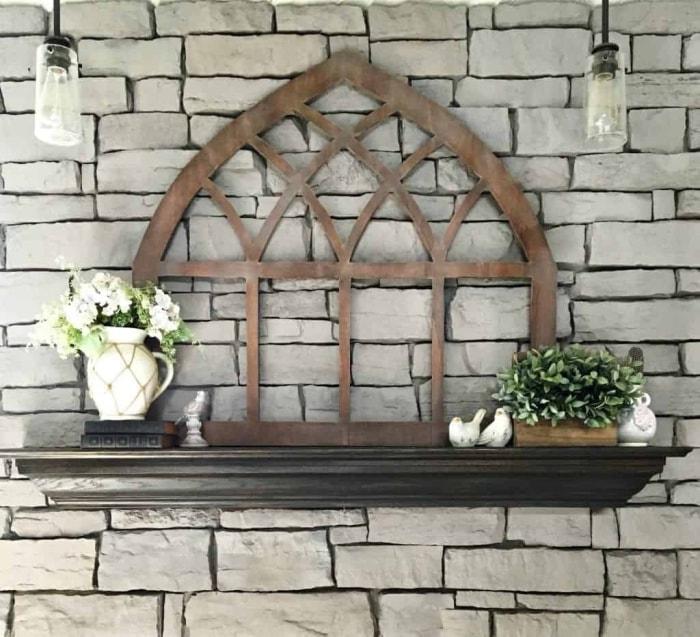 A handmade cathedral window for DIY farmhouse wall decor
