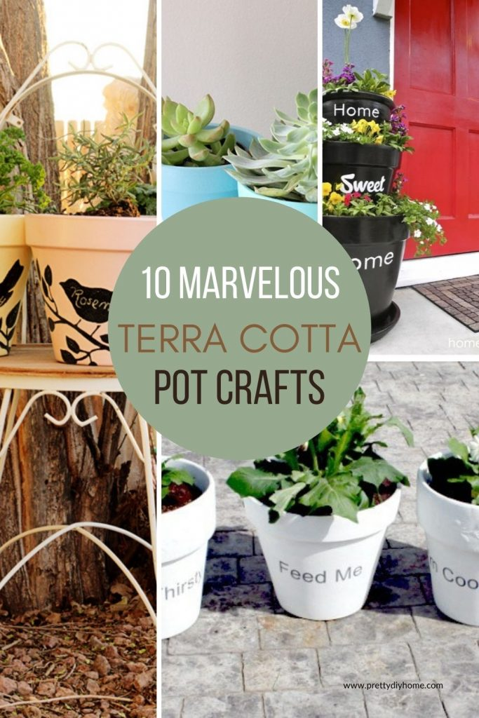 A collage of different DIY terra potta crafts for outdoors, in different colours, sizes and styles. All the the pots have plants in them.