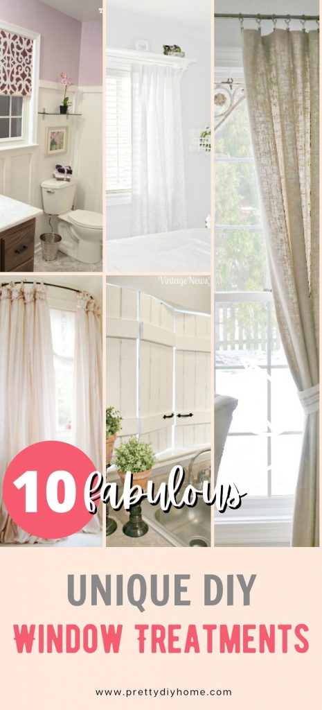 A selection of fantastic DIY window treatments that are different, round roads, wood shutters, wood valences with fabric, iron pipe curtain rods, and a wooden shelf bracket for above a window.