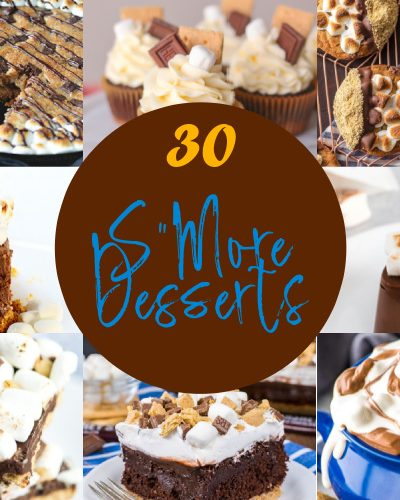 A collage of S'more recipes with chocolate, marshmallow and graham squares. There are cakes, dips, cookies and cupcakes