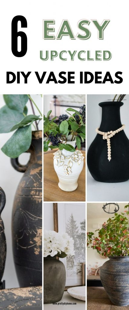 A collection of six vases that have been upcycled into diy faux ceramic vases with lots of texture in pretty earth colours.
