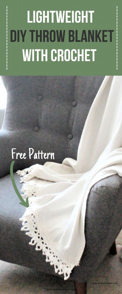 A grey highback livingroom fabric chair with a DIY cotton throw blanket draped over top. The handmade throw blanket is a light cream colour and had cream coloured crochet edges that are large and made with thick cotton wool.