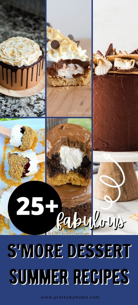 S'more cakes with toasted marshmallow topping, a tart with marshmallow filling and chocolate, and marshmallow ice cream pops on a stick. All the S'more desserts have layers including chocolate, marshmallow and graham crackers.