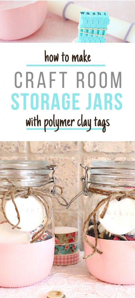 An easy DIY jar craft idea using paint. A jar is partially painted in pink with a pretty DIY clay label attached to it with a twine bow. The jar is then filled with small craft supplies like washi tape.