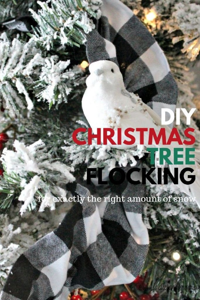 A white bird on a Christmas tree branch with red berries and wording that says How to Flock a Christmas Tree