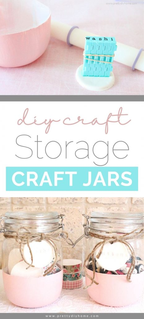 A pair of pink painted craft storage craft jars for organizing small items in the home office of craft room. Each jar has a simple round clay label, one says washi, and the other says buttons. The tags are tied on to the craft room storage jars using twine thats been tied into a bow.