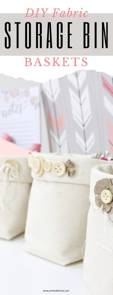 Three diy organizer storage bins in cream. These fabric baskets are made using cream canvas duck cloth fabric with farmhouse button embellishments.