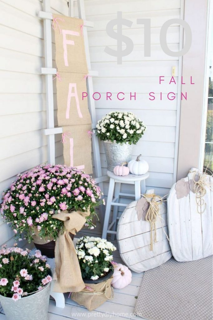 An easy to create Fall Front Porch in Neutral Creamy Colours, with pink and white mum flowers, pastel pink and white painted pumpkins and beautiful burlap bows.