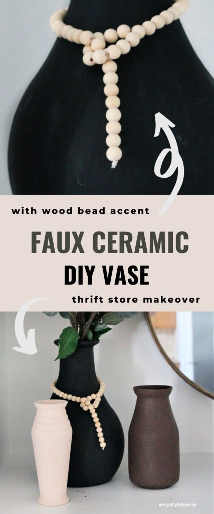 Two images of diy faux ceramic vases, the top one is a close up of a large black vase with diy farmhouse wooden bead string around the neck. The lower image shows three different sized diy faux ceramic vases in an arrangement with green branches and a large round mirror.
