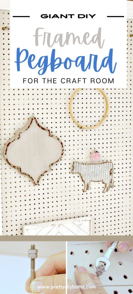 A giant wall sized pegboard for the craftroom in revere pewter with a white boarder. There are two other pictures showing how to mount the pegboard using bolts so that their is room for the pegboard organization hooks to work.