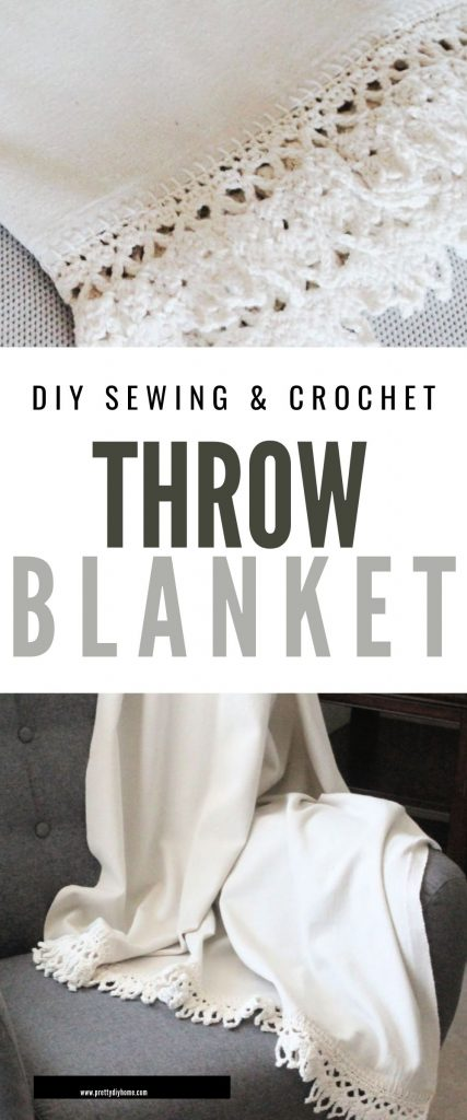 A handmade throw blanket in bleached dropcloth, that looks like linen. It is draped over a neutral grey chair, and has hand done blanket stitch crochet edging with large cotton wool so its quick and easy to craft.