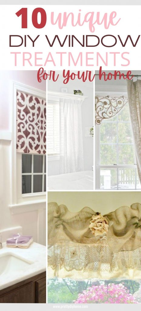 A collection of unique DIY window treatment ideas for indoors including, rods, wooden shutters, metal braces, metal awnings