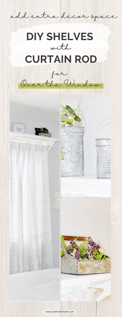 A wooden shelf and curtain rod combo that fits over an existing window, This simple wood diy project is white and it holds grey and white curtain, and assorted farmhouse accessories on the shelf.