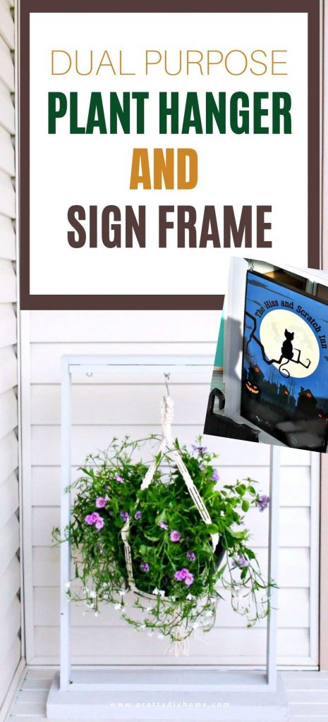 A DIY front porch hanging planter that can be reused as a home decor sign frame for outdoors,