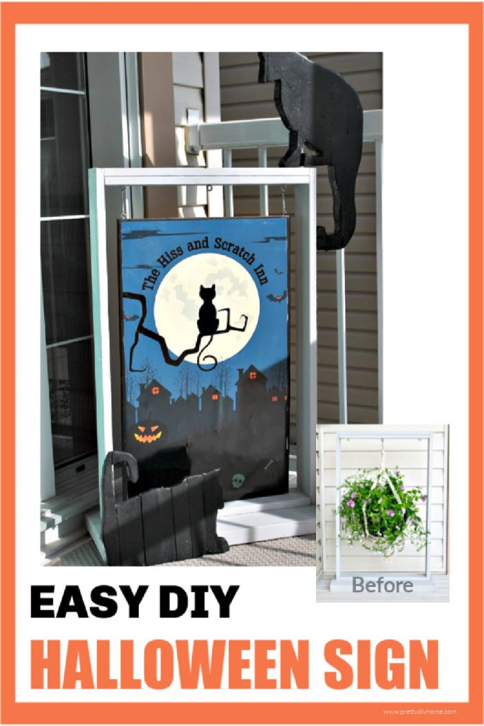 A free printable Halloween poster for the front yard. Its hanging on a DIY hanger we use for flowers in the summer time.