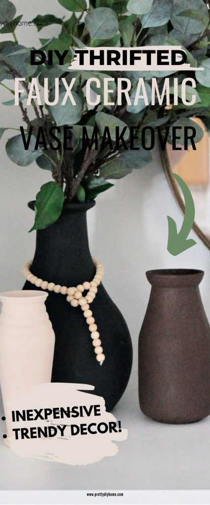 A collection of three faux ceramic painted vased in cream, black and dark brown textured ceramic. The largest vase is black with a DIY farmhouse wooden bead string around it, and its filled with green leaf branches.