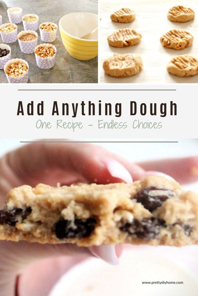 Three images for baking Add Anything Cookies, one the cookies are being mixed, then rolled and pressed with a form on a baking sheet, The third image shows the center of the cookie with chocolate chips, raisins, and peanut.