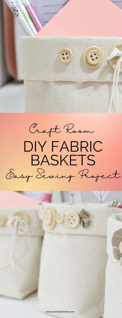 Three diy fabric baskets in cream canvas duck cloth. Each handmade cloth basket hjas cream coloured buttons and handmade flower embellishments.