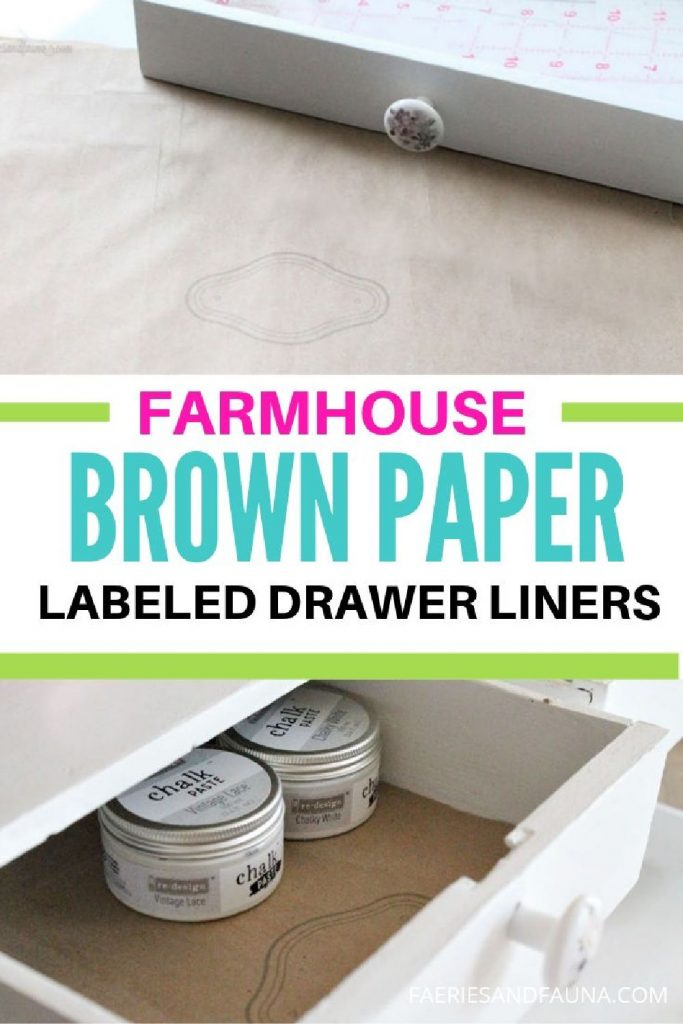 A drawer in a craft oom cabinet that is lined wiht a D(Y paper liner using repurposed brown paper bags.