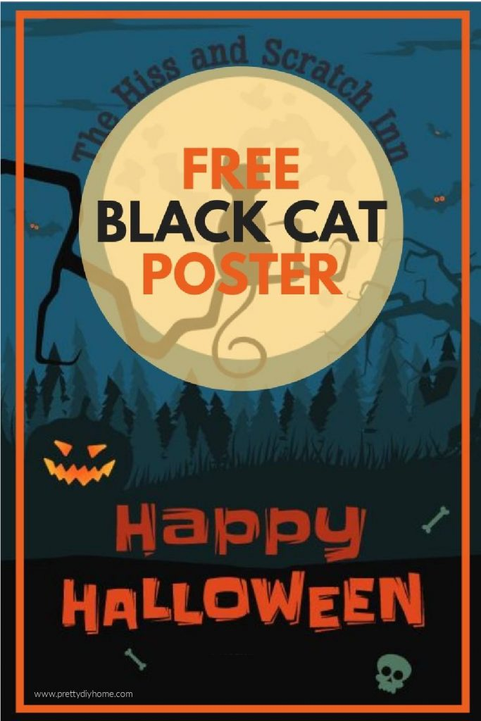 A free Halloween post that says Happy Halloween with a black cat sitting in front of the moon. It is designed to be a Haunted Inn sign for the Hiss and Scratch Inn.