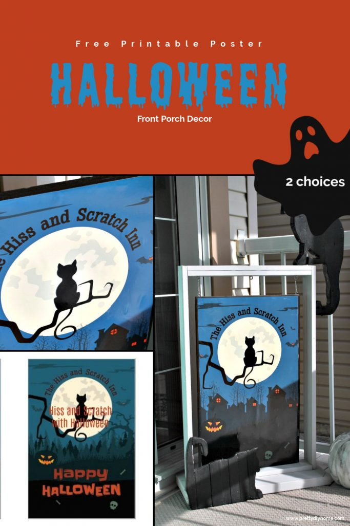Two different versions of a free printable Halloween poster for outdoors. One has trees and says Happy Halloween, the other is houses with orange lights glowing in the window.