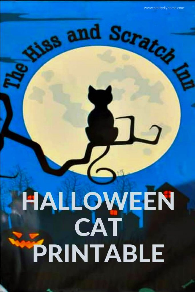A black cat Halloween printable of a fun cat sitting on a branch in front of the moon.