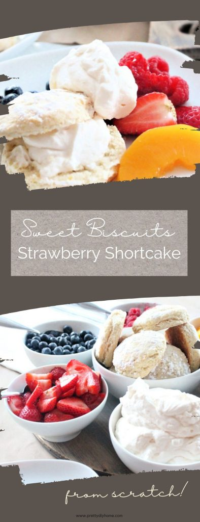 From scratch strawberry shortcake recipe with biscuits, berries and loads of whipping cream. The sweet biscuits are sprinkled with icing sugar and then surrounded with an assortment of fresh berries and whipping cream for serving.