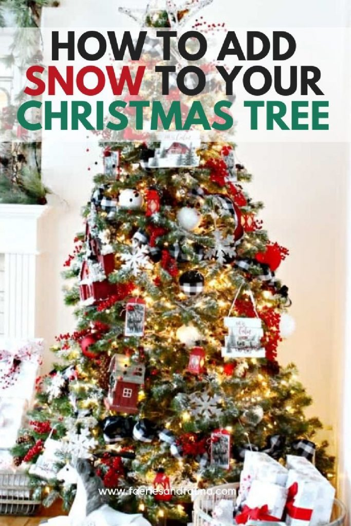 A large Christmas tree with white flocked branches and red, white ornaments with buffalo check.