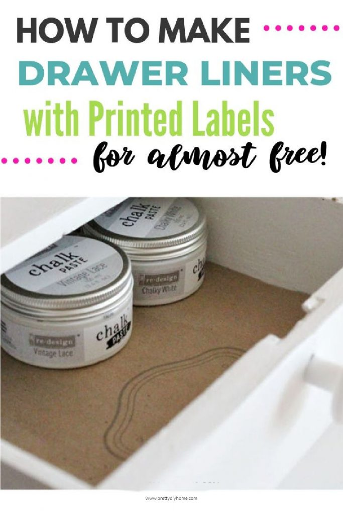 A small craft room drawer lined with brown paper drawer liners than have printed labels printed of them using a regular household printer.